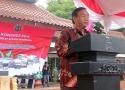 Ketua Dinas Pertanian Banten membacakan pidato dari Plt. Gubernur Banten Rano Karno