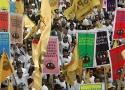 Barisan massa petani SPI dalam Aksi Hari Tani Nasional