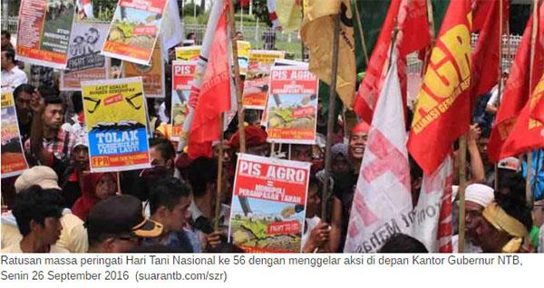 Aksi petani SPI Hari Tani Nasional di Mataram NTB 2016